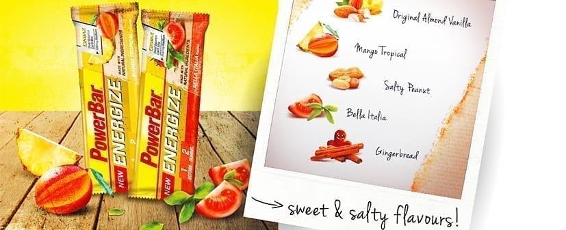 Smaakvariaties van de PowerBar Energize Bar: ZOET: Vanilla Almond / Gingerbread / Mango Tropical. ZOUT: Hartig Bella Italia (omaat, basilicum, zout en oregano) / Salty Peanut (gebrande en geroosterde noten en iets zout)